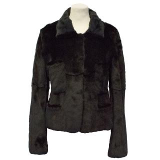 Sonia Rykiel Black Sheared Mink Fur Jacket