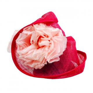 Yvette Jelfs Pink Sinamay Twisted Brim Headpiece with Roses