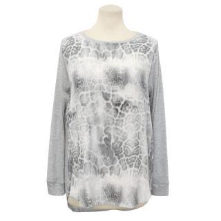 Rebecca Taylor Grey Leopard Print Silk Top