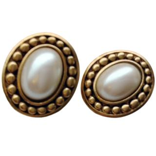 Yves Saint Laurent Filigree Pearl Earrings NEW