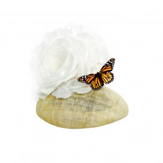 Yvette Jelfs Sinamay pillbox with silk rose and Butterfly