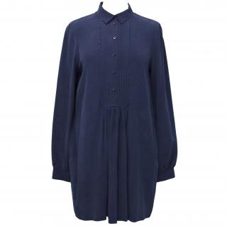 Joseph Blue Silk Dress with Pleated Detailing