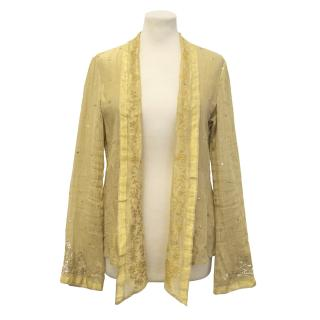 Dosa Metallic Gold Silk Jacket