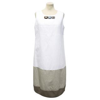 MaxMara White Dress with Grey Panels