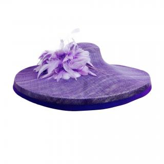 Yvette Jelfs Large Brimmed Purple hat with feather detailing