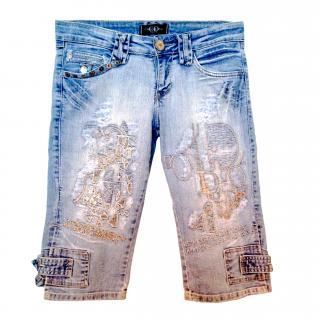 Designer Christian Dior CD 3/4 Length White Wash Jeans Shorts