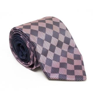 New & Lingwood Navy and Pink Diamond Pattern Tie