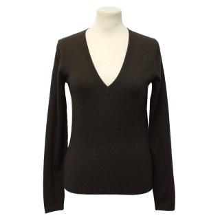 Theory Dark Brown Wool Sweater