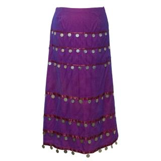 Matthew Williamson Purple and Pink Skirt with Metal Coins