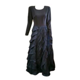 Carolina Herrera navy blue silk evening dress