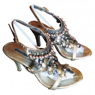 Ermanno Scervino handmade gold sandals