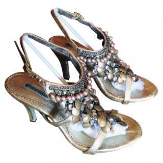 Ermanno Scervino handmade gold sandals