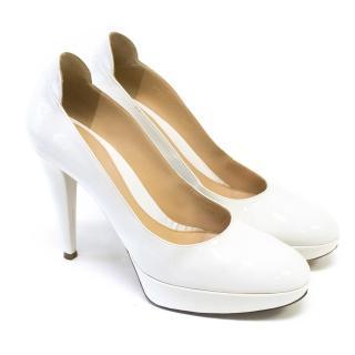 Sergio Rossi White Patent Platform Heels