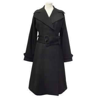 Dolce & Gabbana Black Wool Coat with Belt
