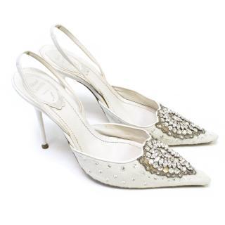 Rene Caovilla White Ponyskin Embellished Heels