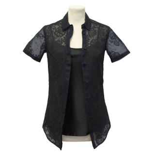 Burberry Prorsum Blue and Black Lace Shirt with Silk Underlay