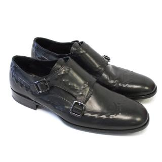 Alexander McQueen Black Leather Buckle Brogues
