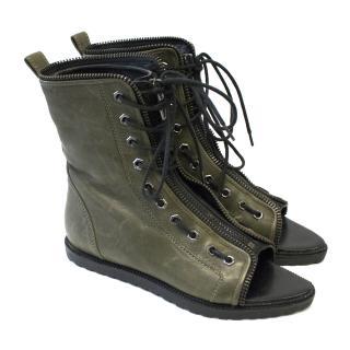Alexander Wang Mirte Lace-up Peep Toe Boots