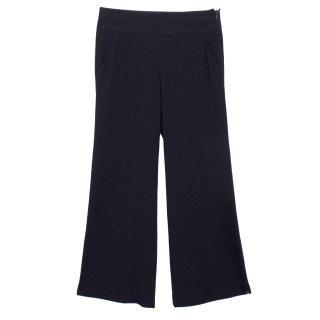Donna Karan Navy Wide Leg Trousers