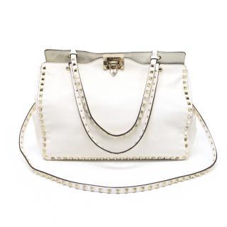Valentino Cream Rock Studd Handbag