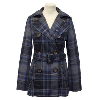 Tommy Hilfiger Blue and Green Plaid Trench