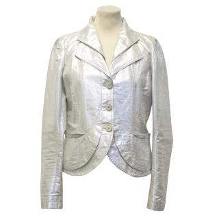 Dries Van Noten Double Lapel Silver Blazer
