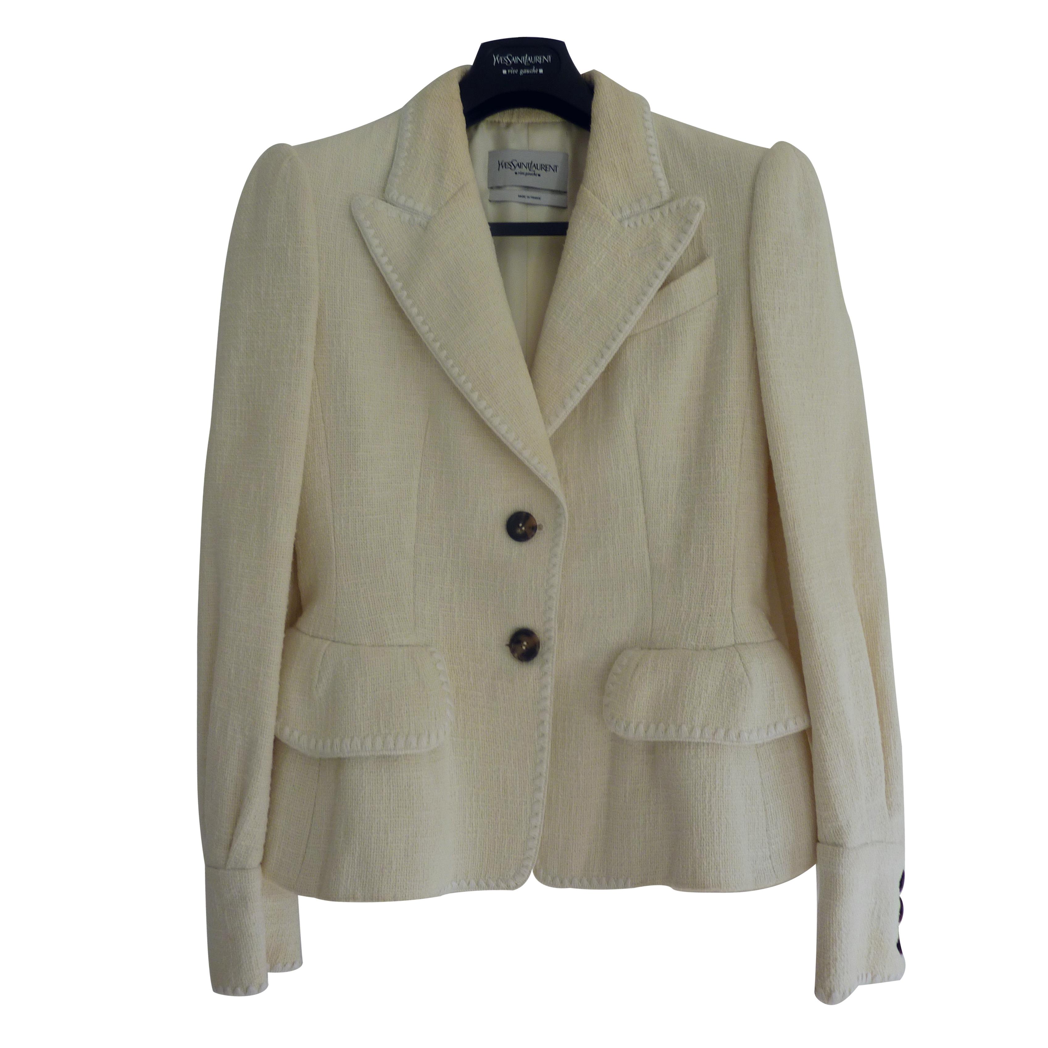 8322f73bde0 Yves Saint Laurent Rive Gauche Cream Jacket038186 | HEWI London
