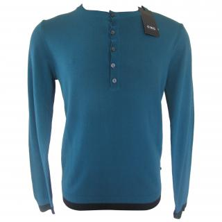 Costume National C'N'C MENS SUPERFINE KNIT Turquoise Jumper Top