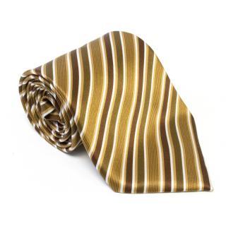Brioni Brown Silk Striped Tie