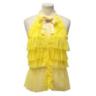 Marc Jacobs Yellow Lace Vest Top