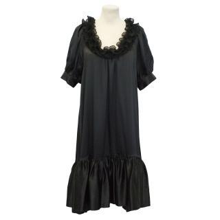 Manoush Black Silk Ruffled Neck Dress