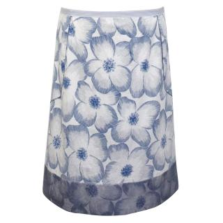 Sportmax Blue and White Floral Skirt
