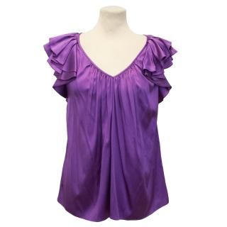 Rebecca Taylor Purple Silk V-Neck Top