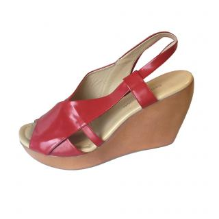 Costume National Red Wedge Sandals New
