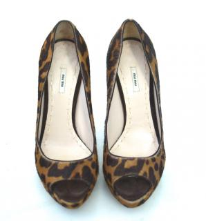 Miu Miu Leopard Calf hair Peep-toe Shoes