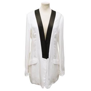Pierre Balmain White Long Silk Jacket