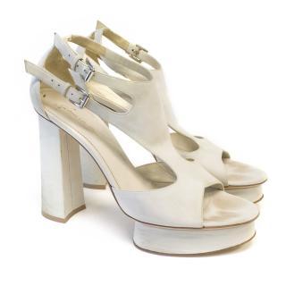 Gianvito Rossi Cream Suede Platform Sandals