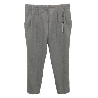 Vionnet Grey Wool Cropped Trousers