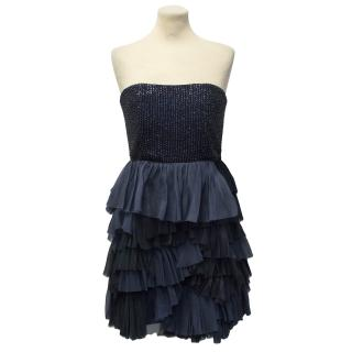 Alice + Olivia Navy Silk Strapless Dress