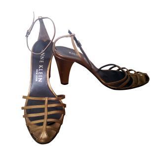 Anne Klein Bronze Strappy Chunky Heels