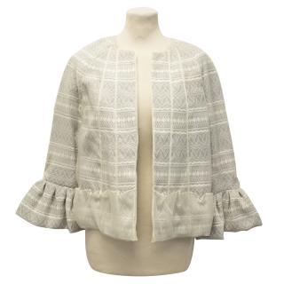 Peter Som Grey Chiffon and Silk Jacket