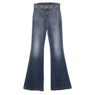 J Brand Demi High-rise Patch Pocket Flare in Ashbury