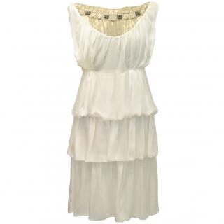 Alberta Ferretti Cream Silk Dress