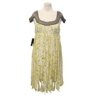 Sass & Bide Yellow Patterned Silk Dress