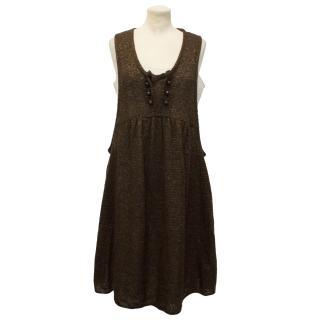 Anna Sui Brown Pinafore Dress