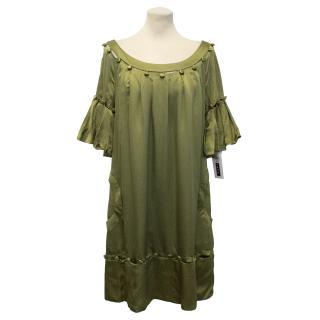 Lela Rose Green Satin Dress