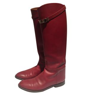 Hermes Burgundy Leather Boots