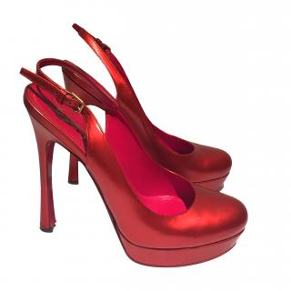 YSL Red Leather Sandals