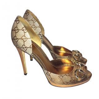 Gucci Golden Peep Toe Sandals