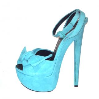 Guiseppe Zanotti Suede Blue Sandals